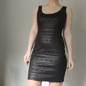 Black Iridescent Aztec Pattern Club Dress